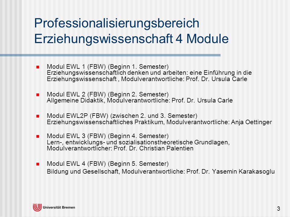 Professionalisierungsbereich Erziehungswissenschaft 4 Module
