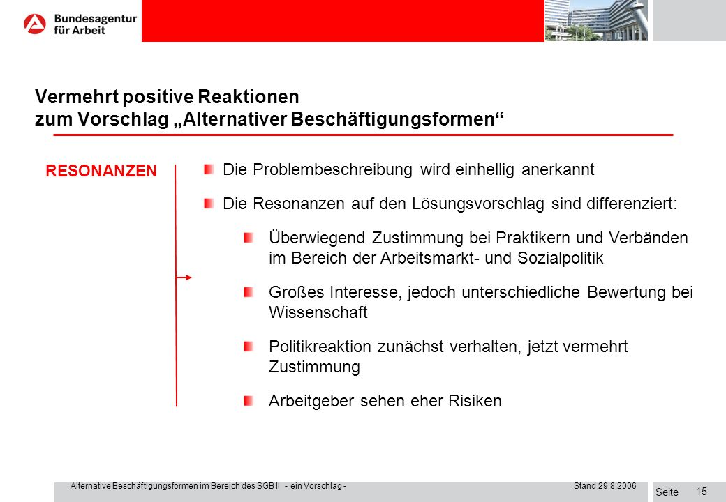 """I. Der Auftrag Vermehrt positive Reaktionen zum Vorschlag """"Alternativer Beschäftigungsformen RESONANZEN."""