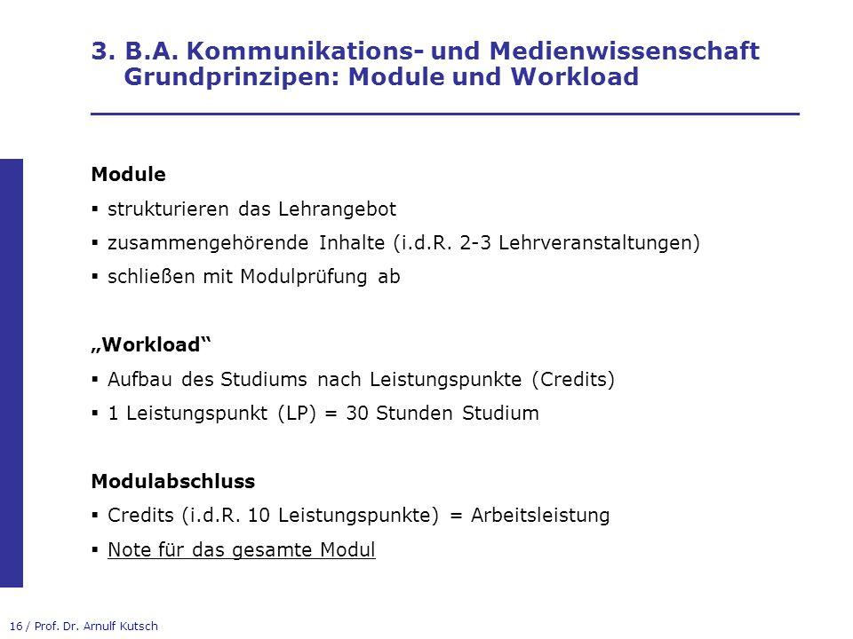 3. B.A. Kommunikations- und Medienwissenschaft Grundprinzipen: Module und Workload __________________________________________