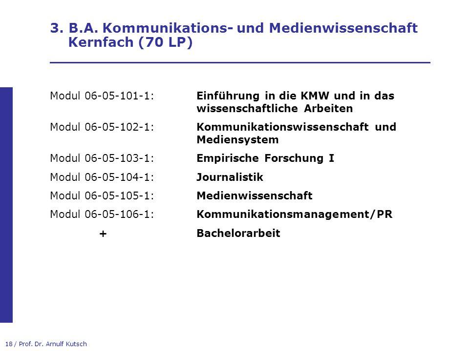 3. B.A. Kommunikations- und Medienwissenschaft Kernfach (70 LP) _________________________________________