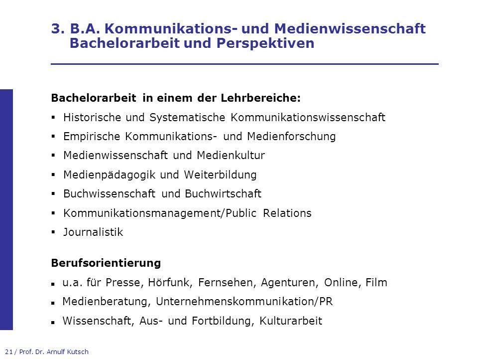 3. B.A. Kommunikations- und Medienwissenschaft Bachelorarbeit und Perspektiven _________________________________________