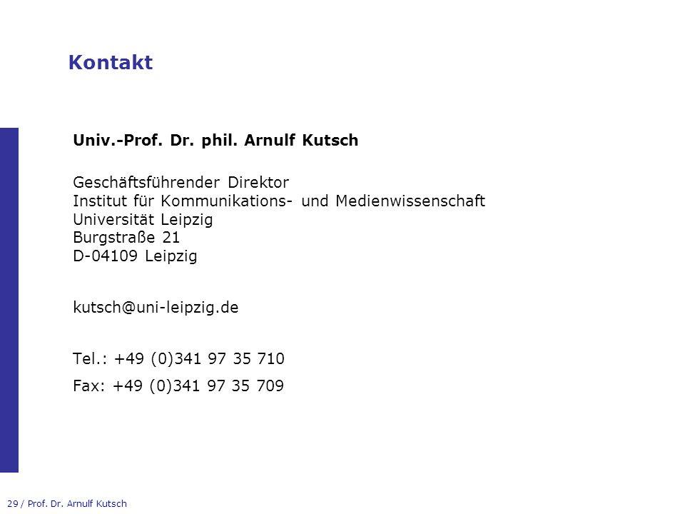 Kontakt Univ.-Prof. Dr. phil. Arnulf Kutsch