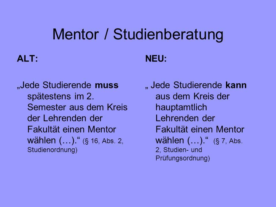 Mentor / Studienberatung