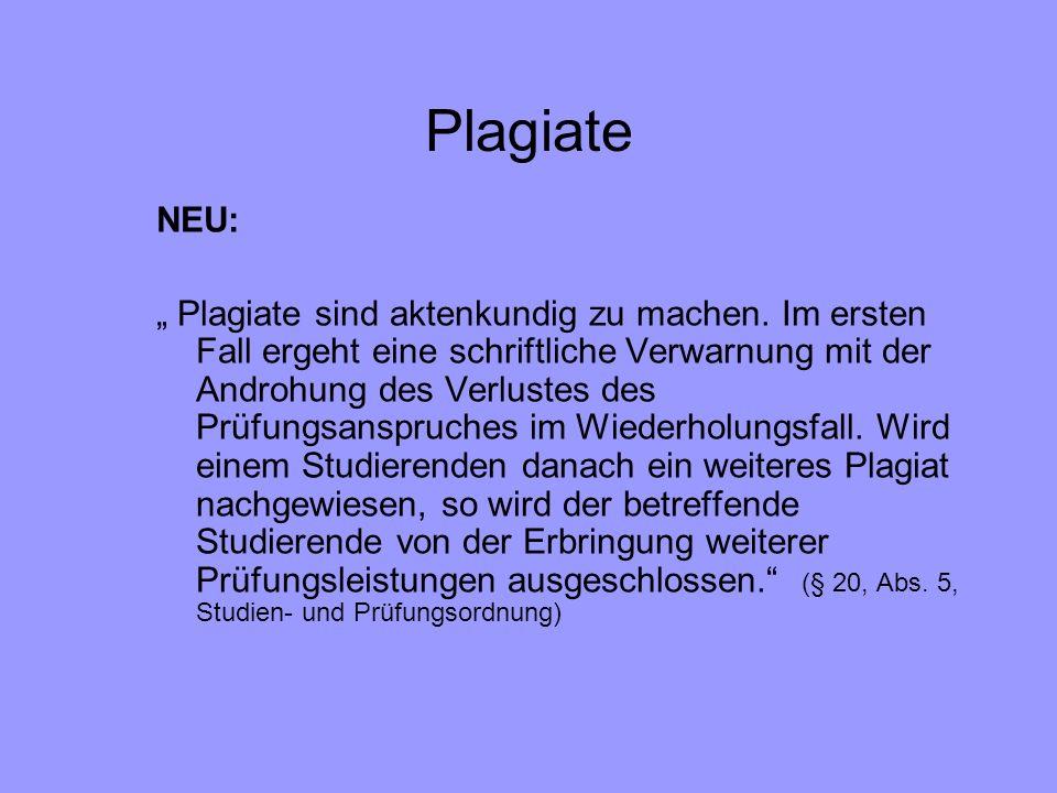 Plagiate NEU: