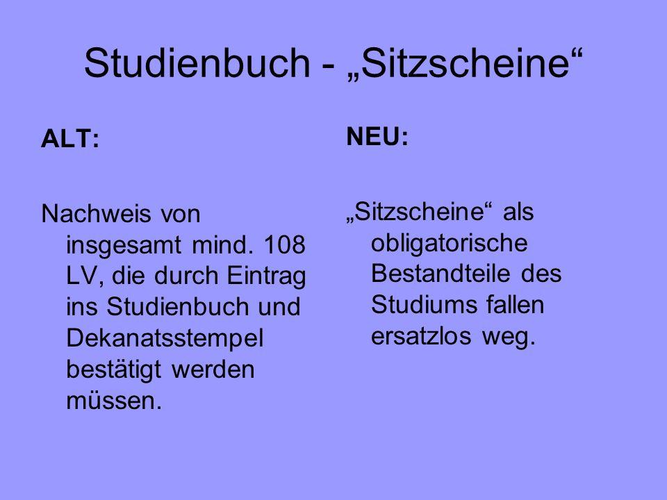 """Studienbuch - """"Sitzscheine"""