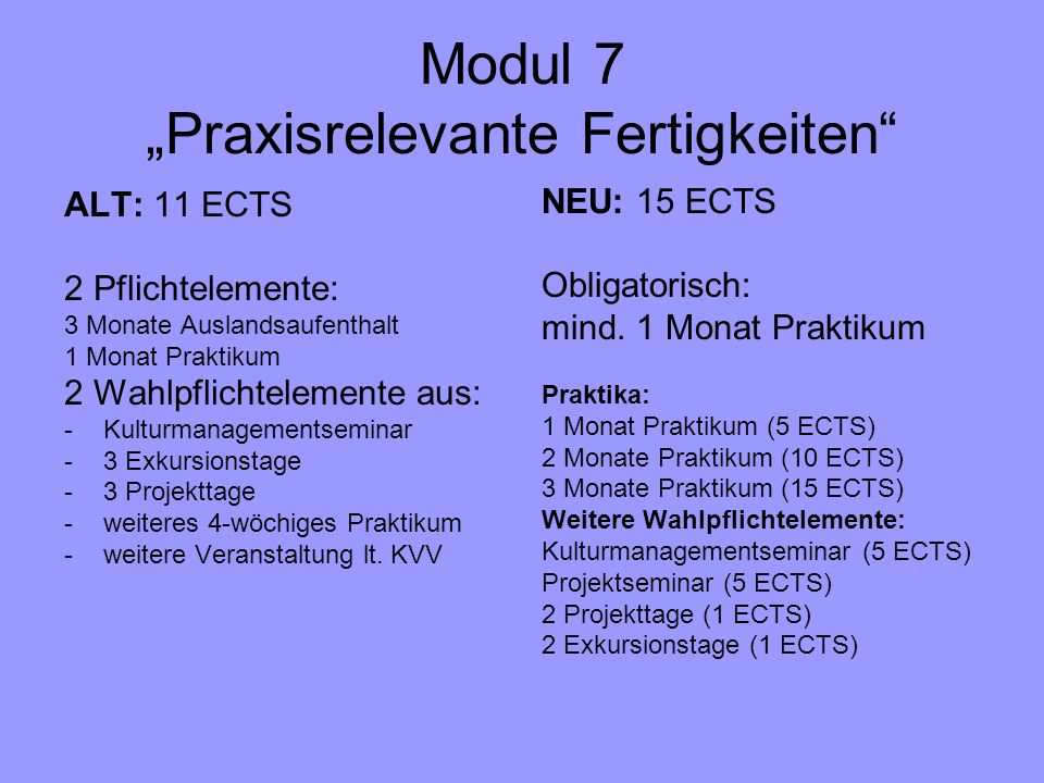 "Modul 7 ""Praxisrelevante Fertigkeiten"