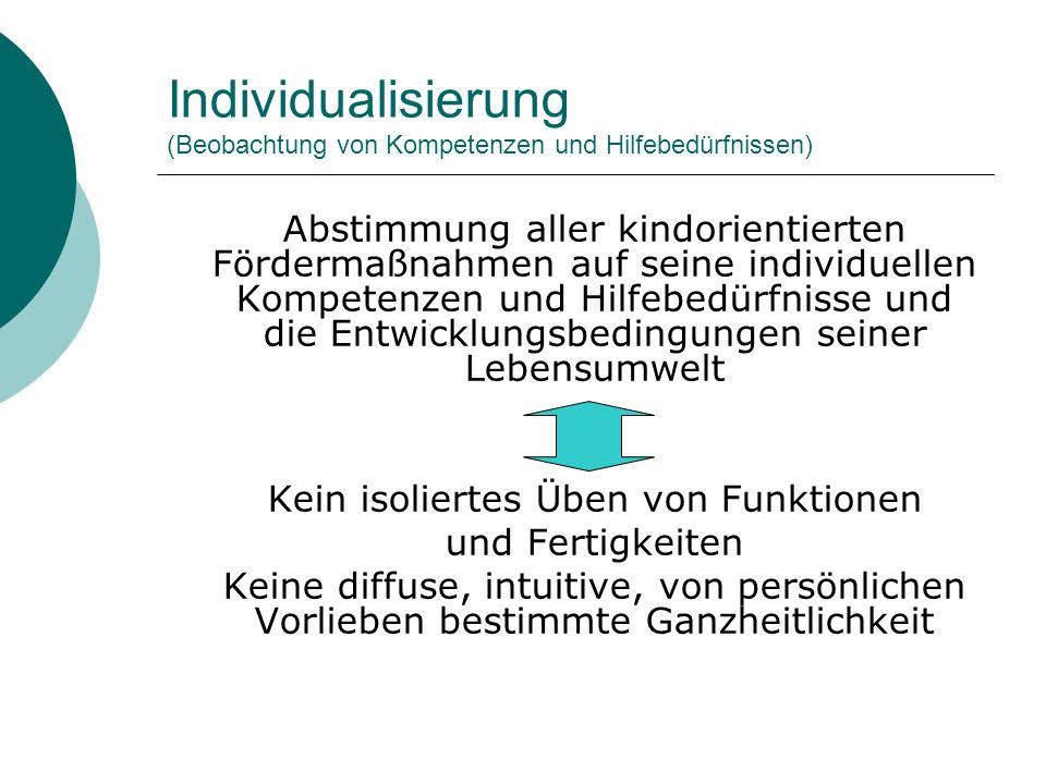 Individualisierung (Beobachtung von Kompetenzen und Hilfebedürfnissen)