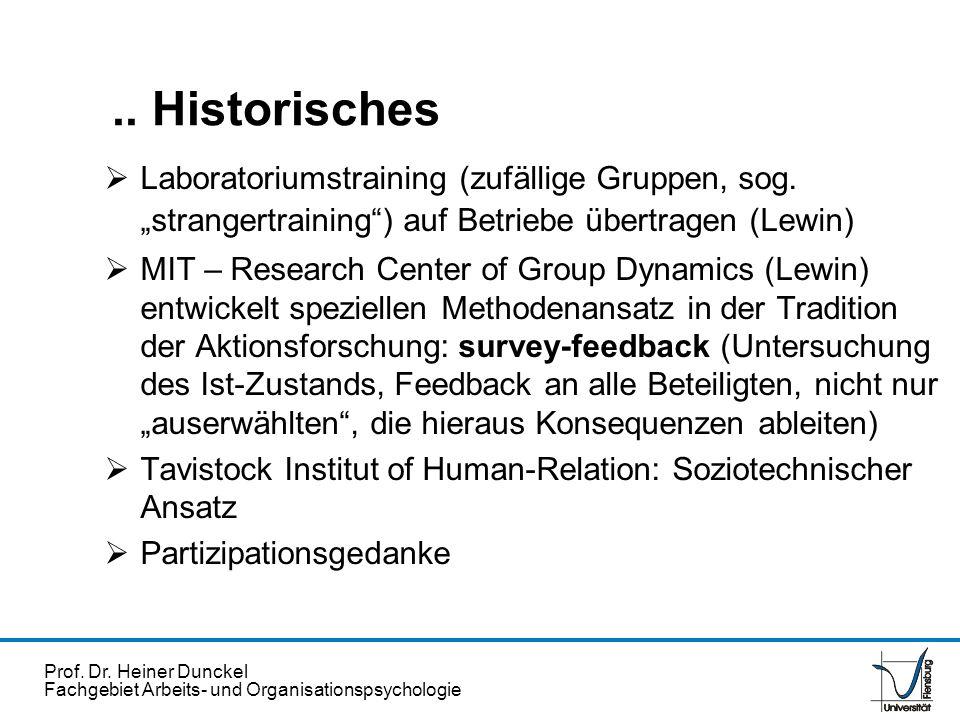 """.. Historisches Laboratoriumstraining (zufällige Gruppen, sog. """"strangertraining ) auf Betriebe übertragen (Lewin)"""