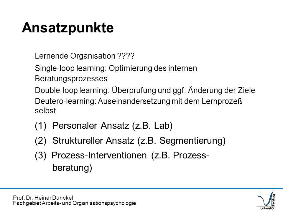 Ansatzpunkte (1) Personaler Ansatz (z.B. Lab)