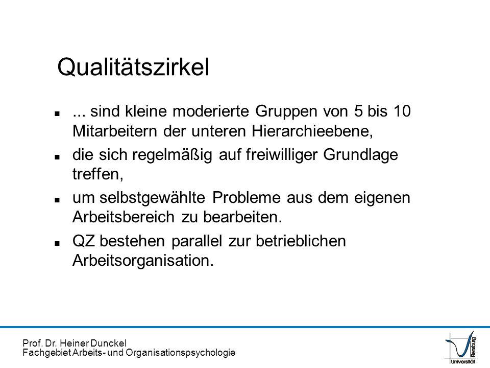 Qualitätszirkel ... sind kleine moderierte Gruppen von 5 bis 10 Mitarbeitern der unteren Hierarchieebene,