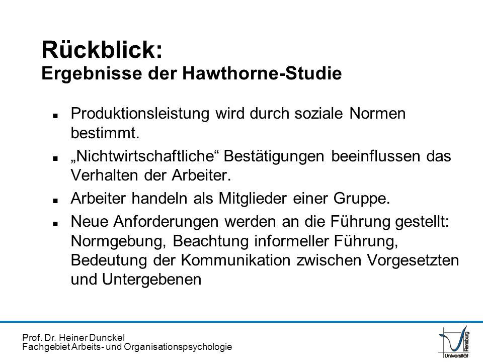 Rückblick: Ergebnisse der Hawthorne-Studie