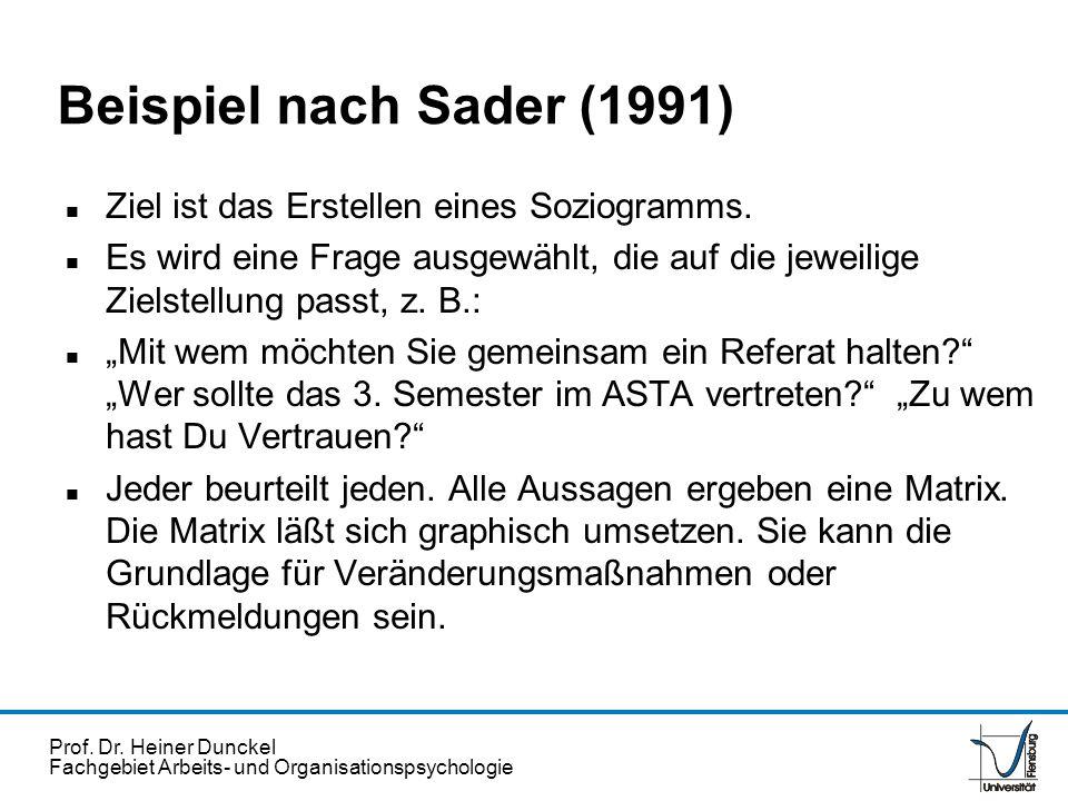 Beispiel nach Sader (1991) Ziel ist das Erstellen eines Soziogramms.