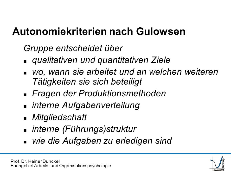 Autonomiekriterien nach Gulowsen