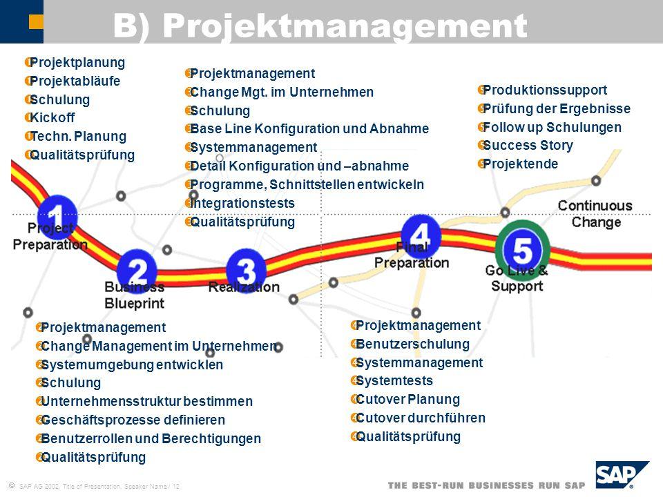 B) Projektmanagement Projektplanung Projektabläufe Schulung Kickoff