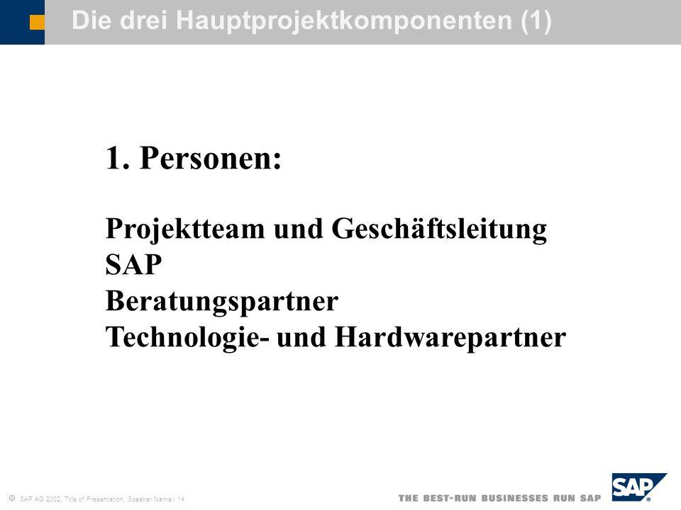 Die drei Hauptprojektkomponenten (1)