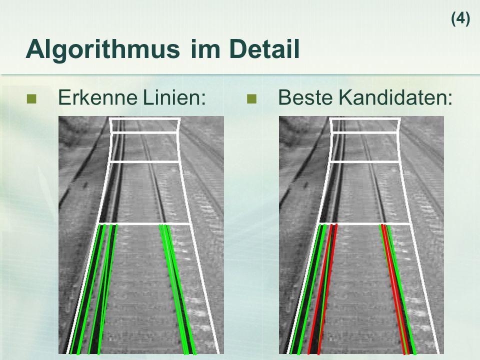 (4) Algorithmus im Detail Erkenne Linien: Beste Kandidaten: