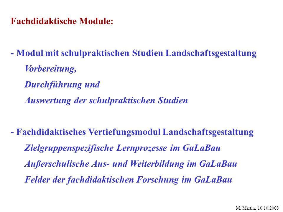 Fachdidaktische Module:
