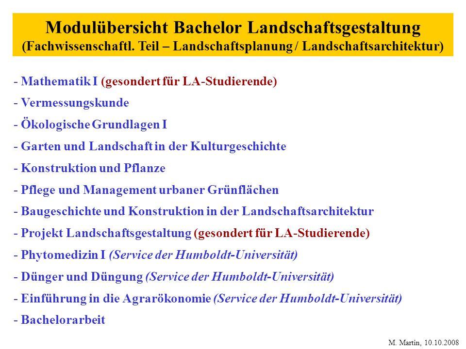 Modulübersicht Bachelor Landschaftsgestaltung (Fachwissenschaftl