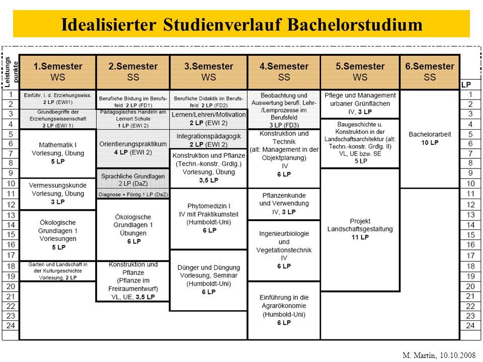 Idealisierter Studienverlauf Bachelorstudium