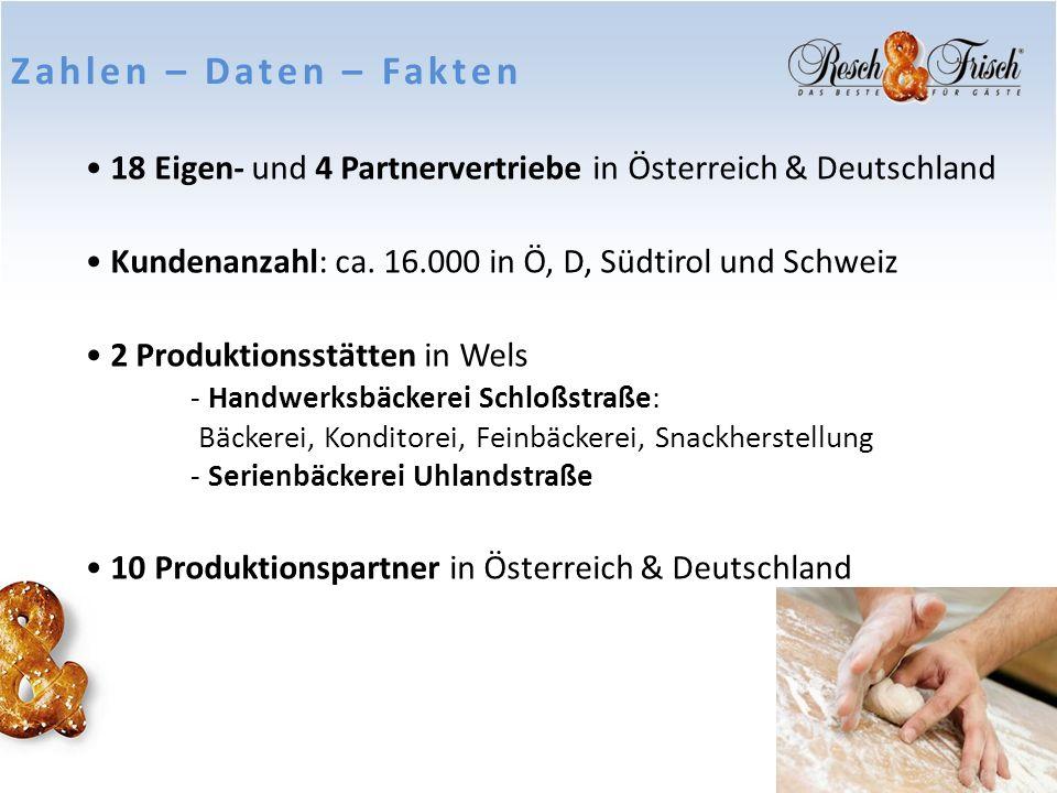 Zahlen – Daten – Fakten 18 Eigen- und 4 Partnervertriebe in Österreich & Deutschland. Kundenanzahl: ca. 16.000 in Ö, D, Südtirol und Schweiz.