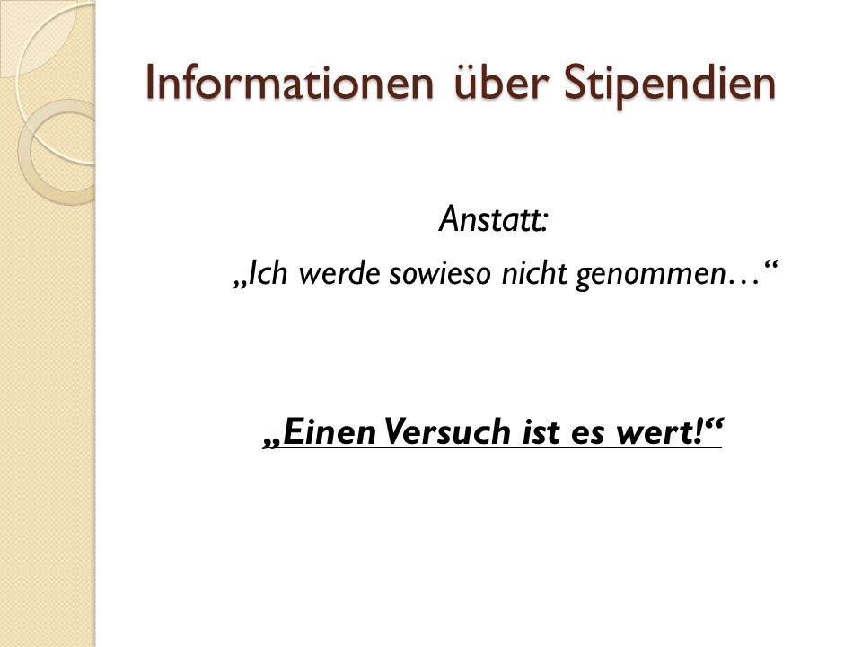 Informationen über Stipendien