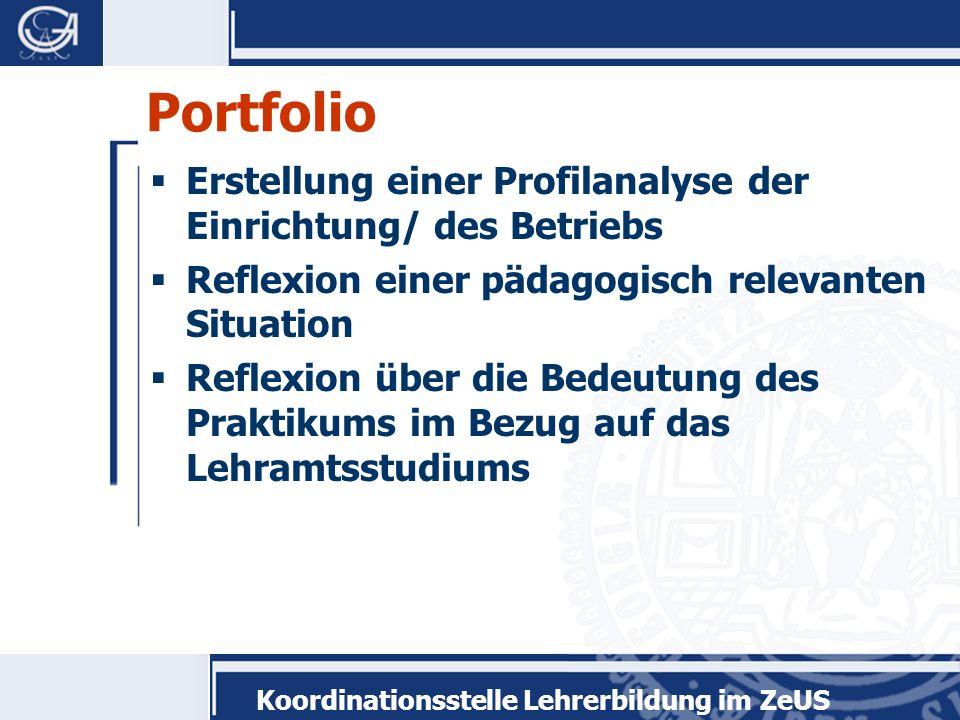 Portfolio Erstellung einer Profilanalyse der Einrichtung/ des Betriebs