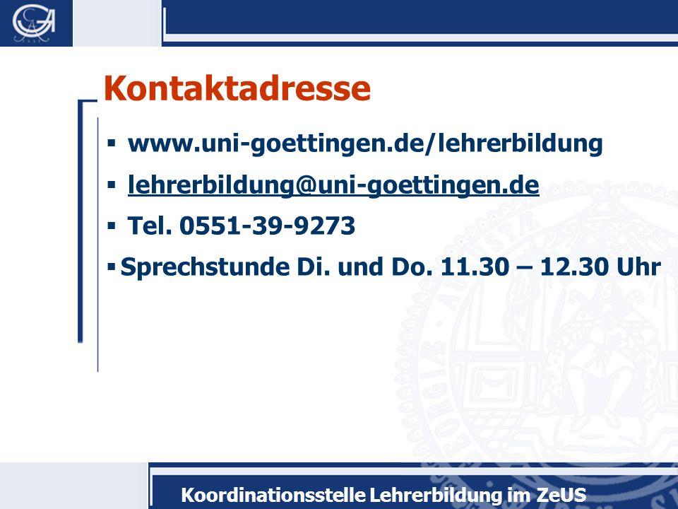 Kontaktadresse www.uni-goettingen.de/lehrerbildung