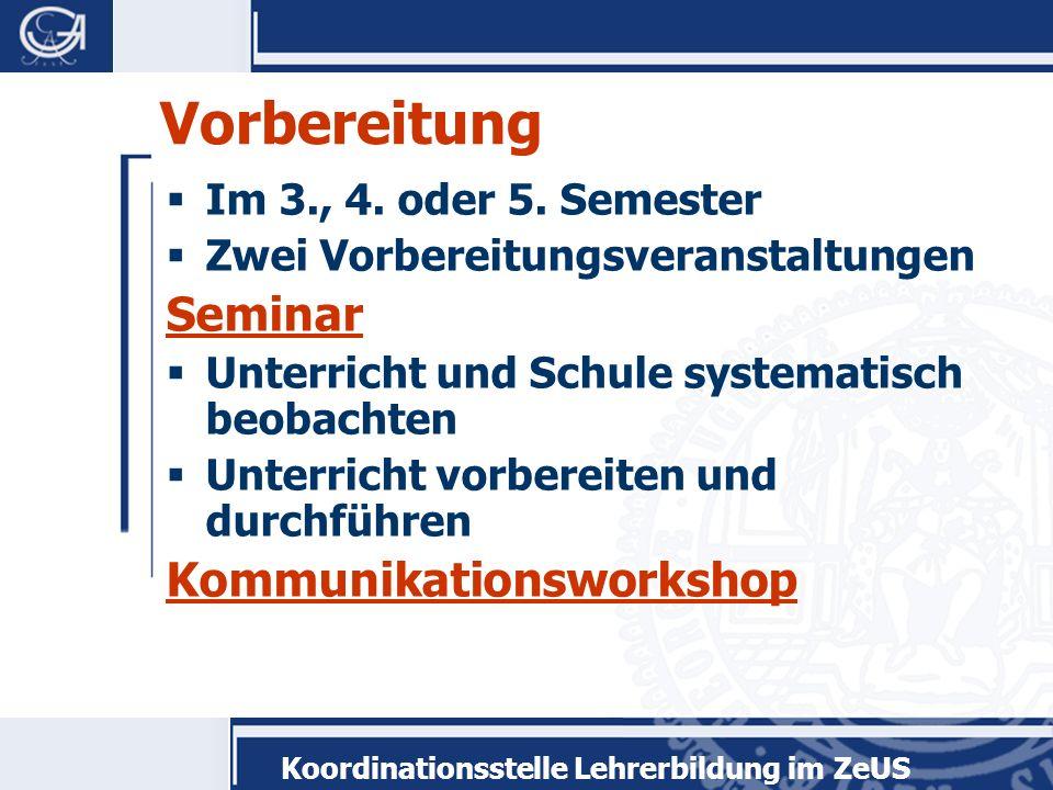 Vorbereitung Seminar Kommunikationsworkshop Im 3., 4. oder 5. Semester