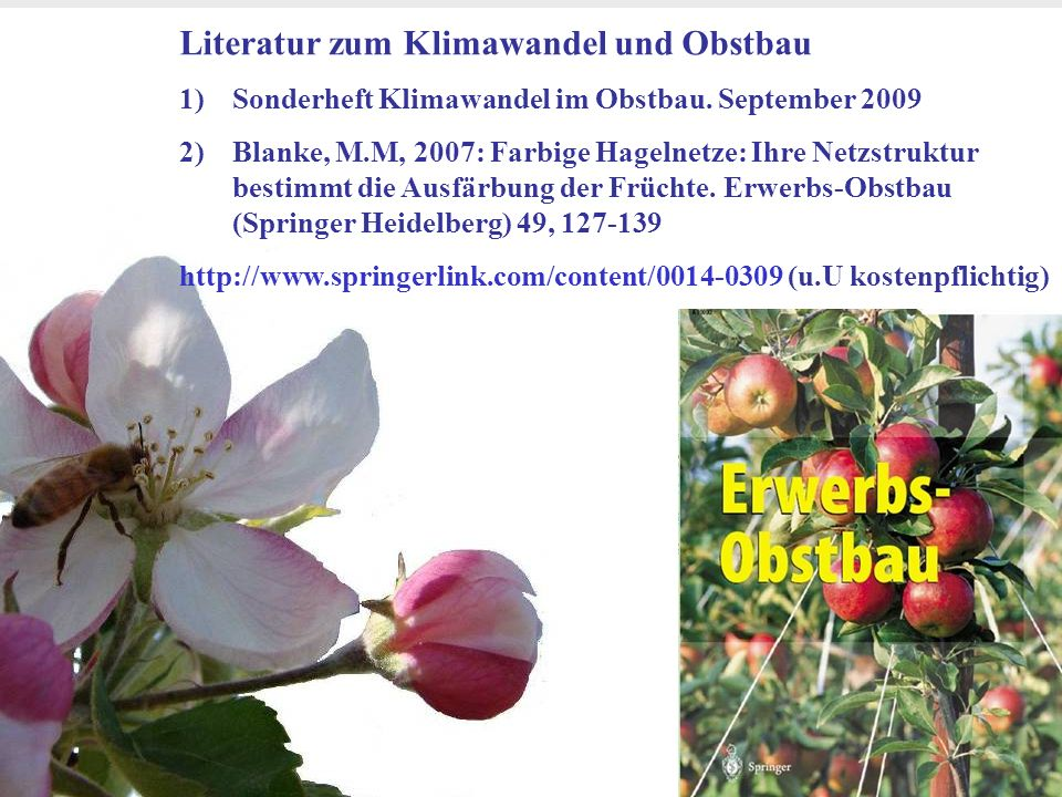 Literatur zum Klimawandel und Obstbau