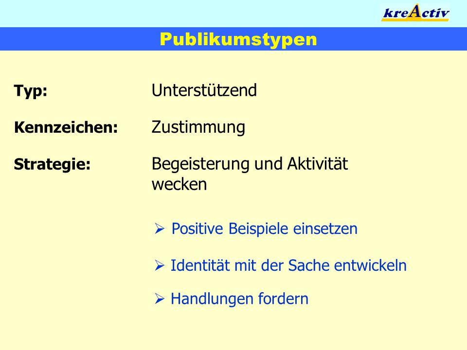 Publikumstypen Typ: Unterstützend Kennzeichen: Zustimmung