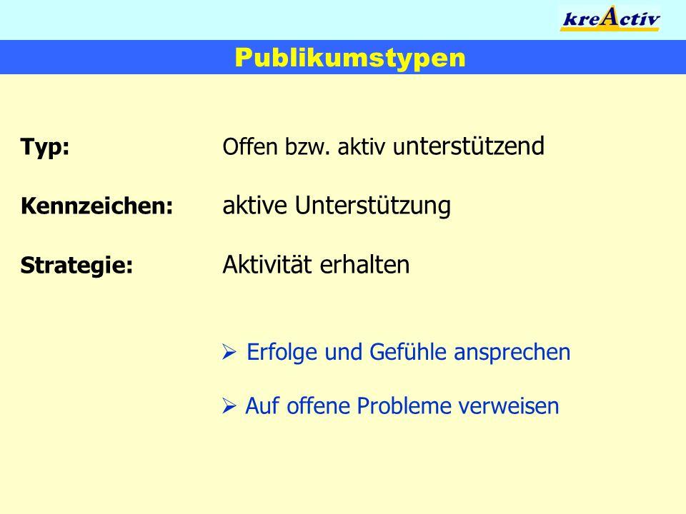 Publikumstypen Typ: Offen bzw. aktiv unterstützend