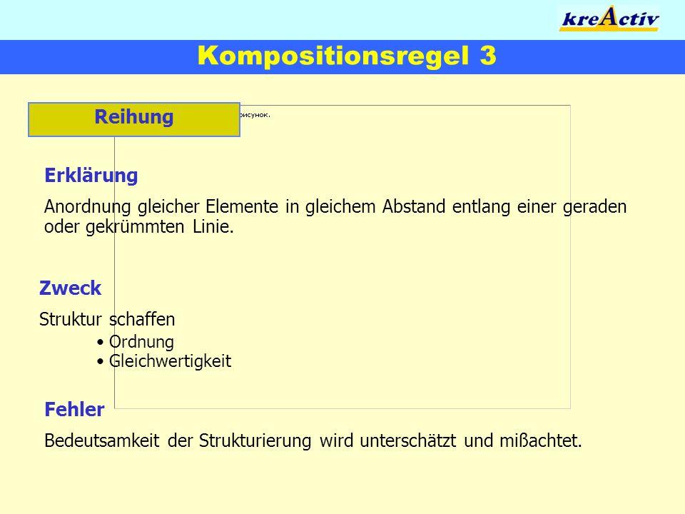 Kompositionsregel 3 Reihung Erklärung Zweck Fehler