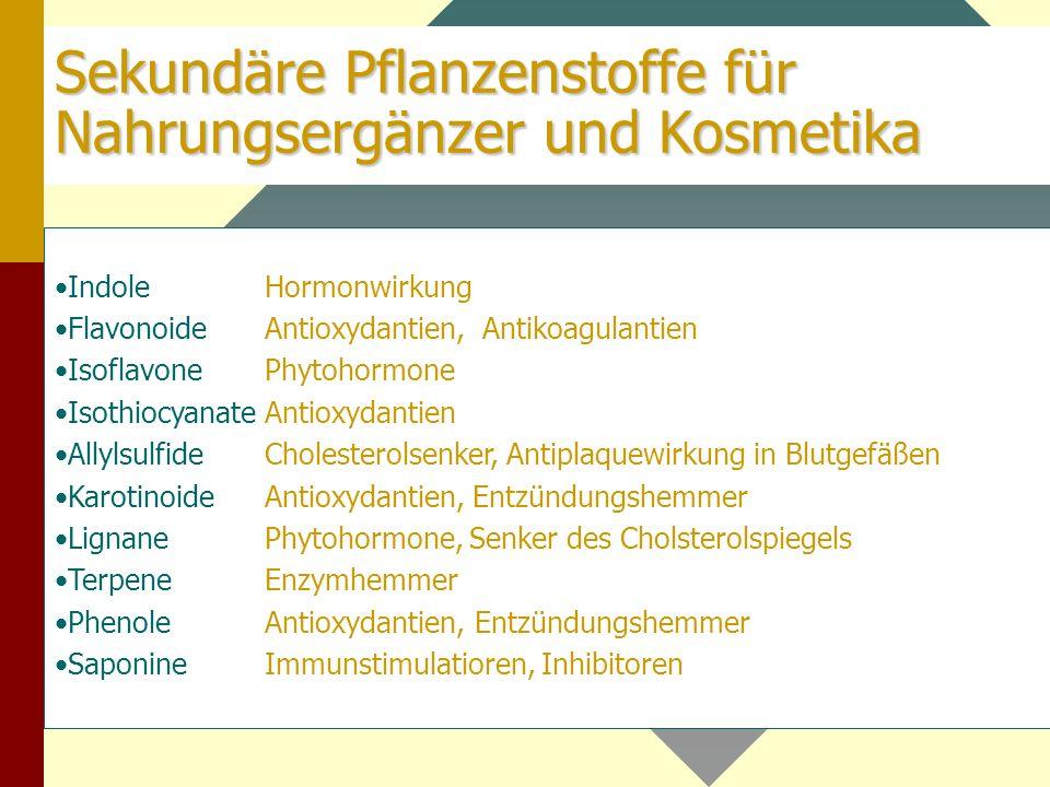 Sekundäre Pflanzenstoffe für Nahrungsergänzer und Kosmetika
