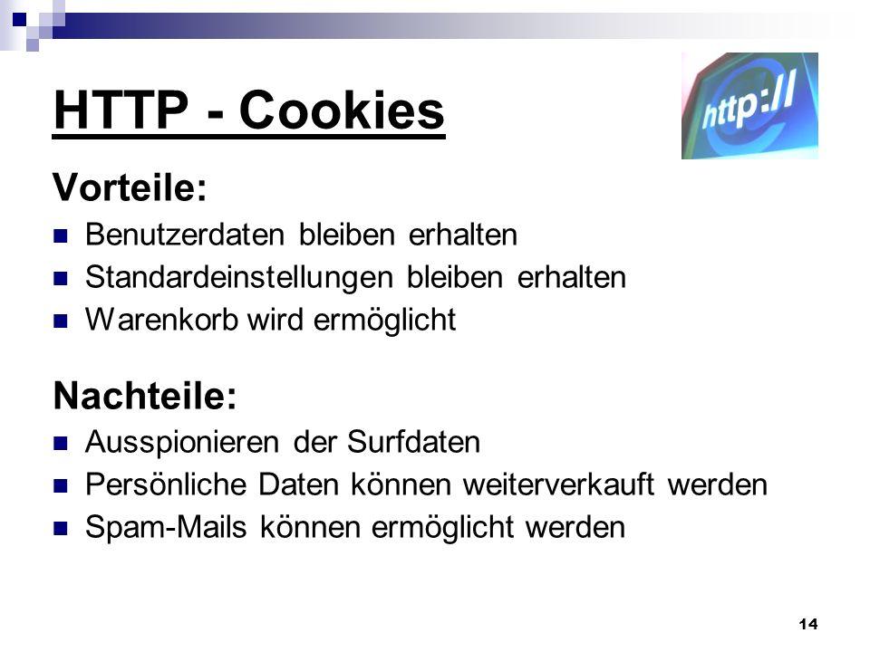 HTTP - Cookies Vorteile: Nachteile: Benutzerdaten bleiben erhalten