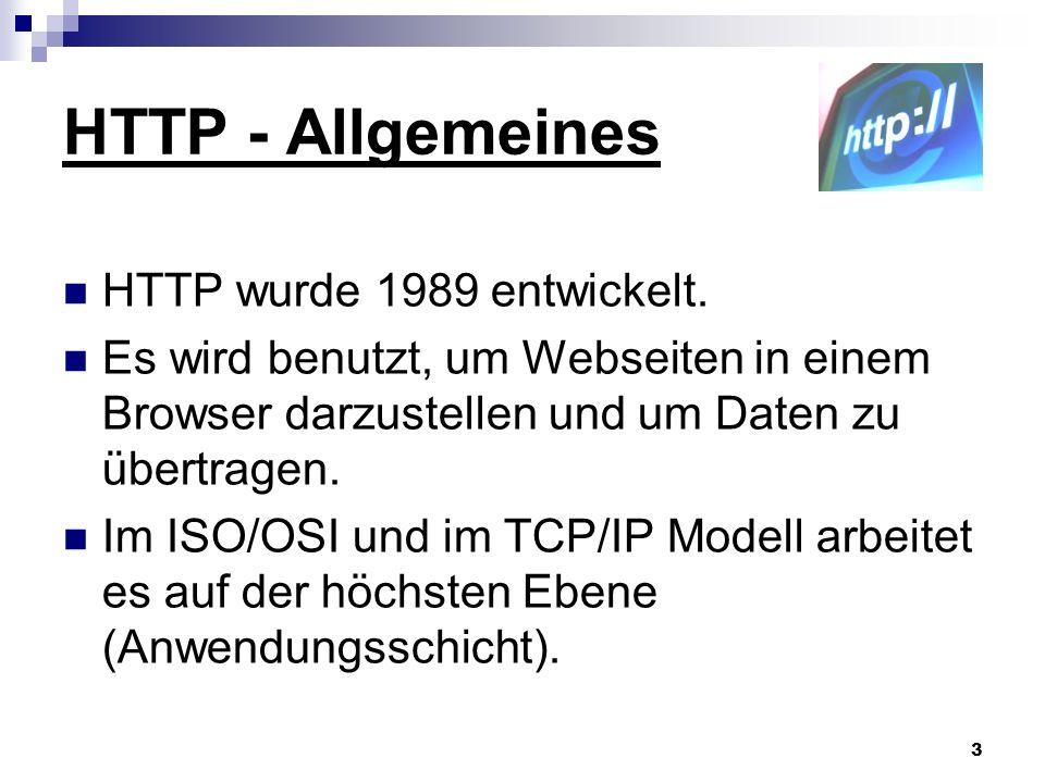 HTTP - Allgemeines HTTP wurde 1989 entwickelt.