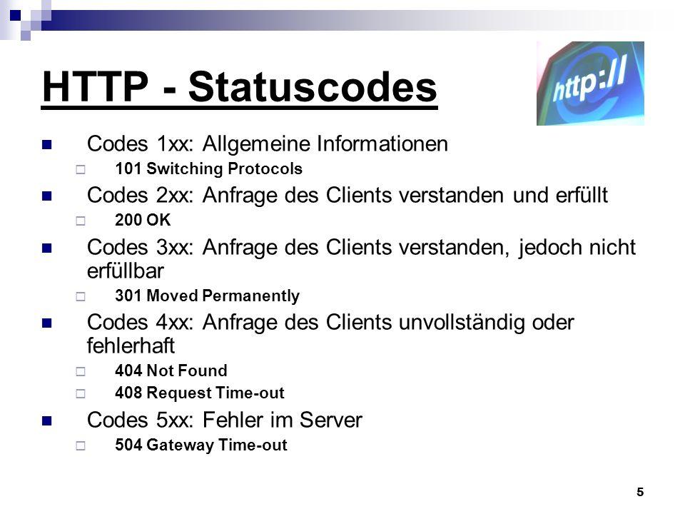HTTP - Statuscodes Codes 1xx: Allgemeine Informationen