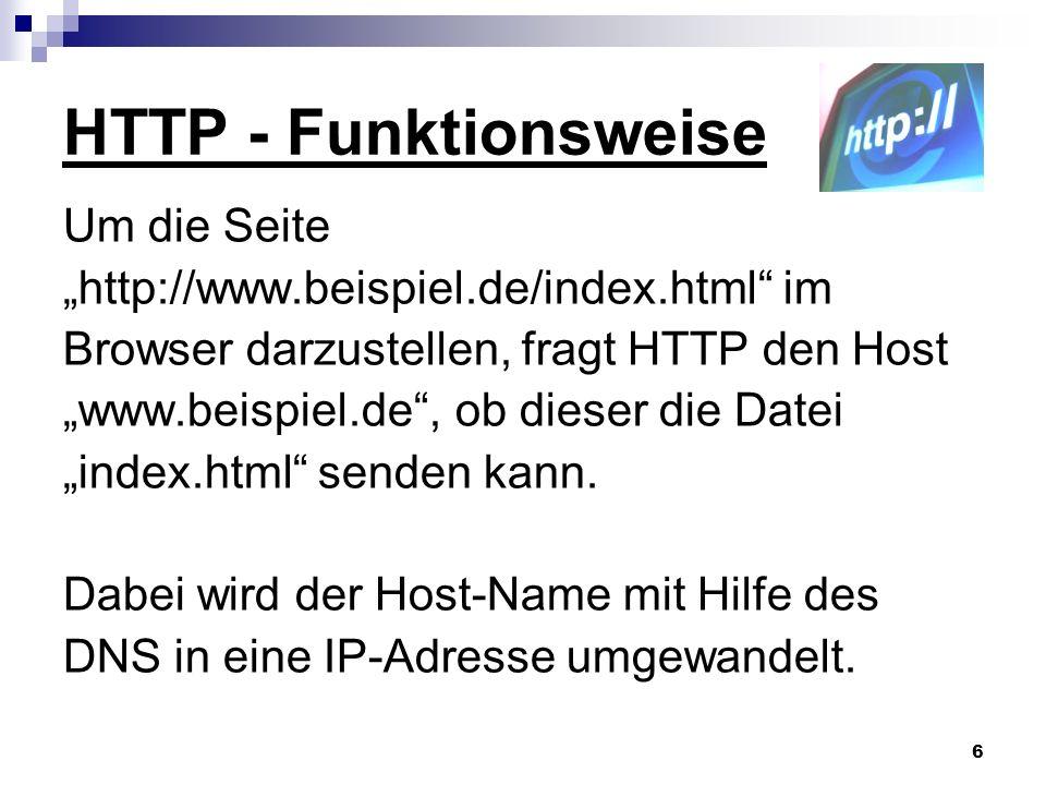 HTTP - Funktionsweise Um die Seite