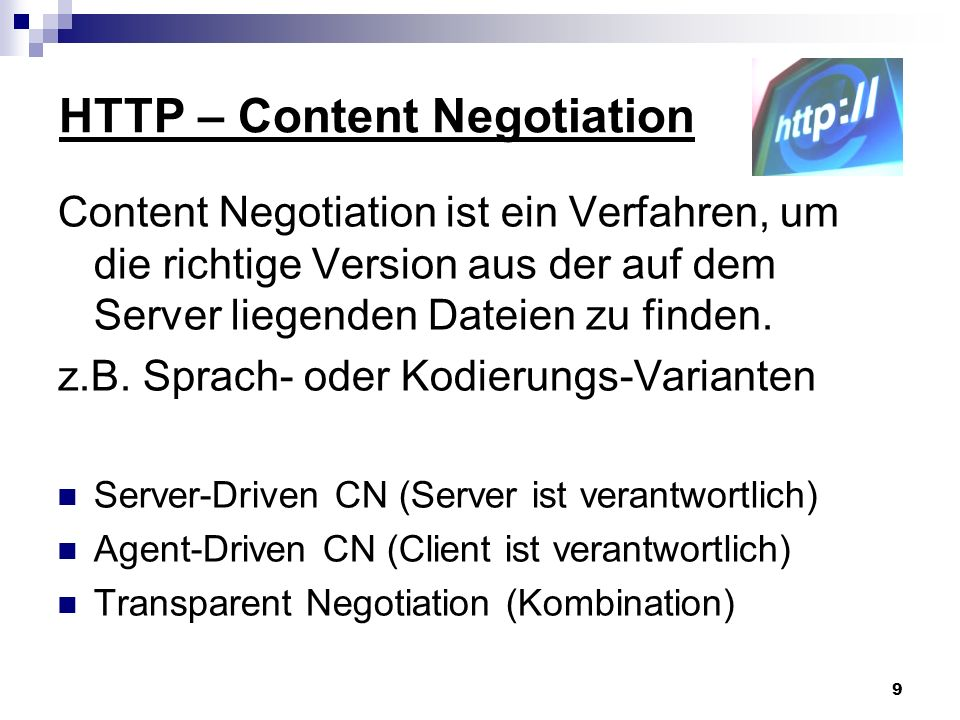 HTTP – Content Negotiation