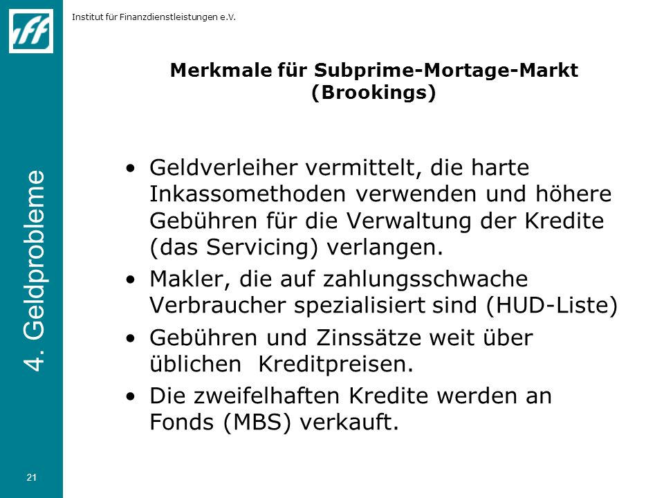 Merkmale für Subprime-Mortage-Markt (Brookings)