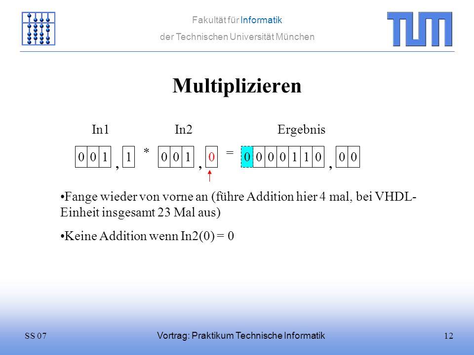 Multiplizieren In1 In2 Ergebnis * = 1 1 1 1 1 , , ,