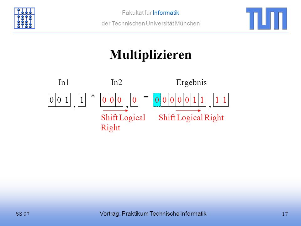 Multiplizieren In1 In2 Ergebnis * = 1 1 1 1 1 1 , , ,