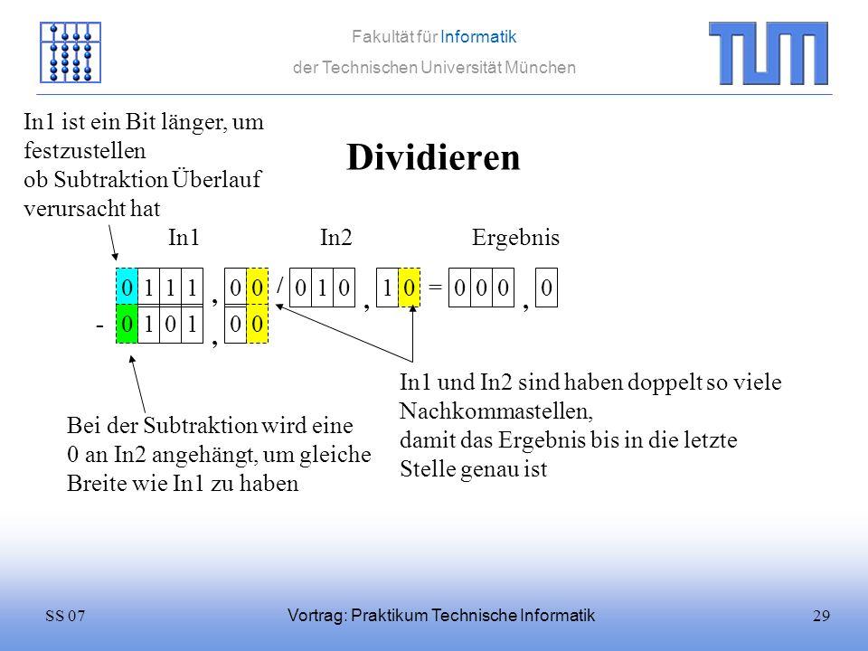 Dividieren In1 ist ein Bit länger, um festzustellen ob Subtraktion Überlauf verursacht hat. In1. In2.
