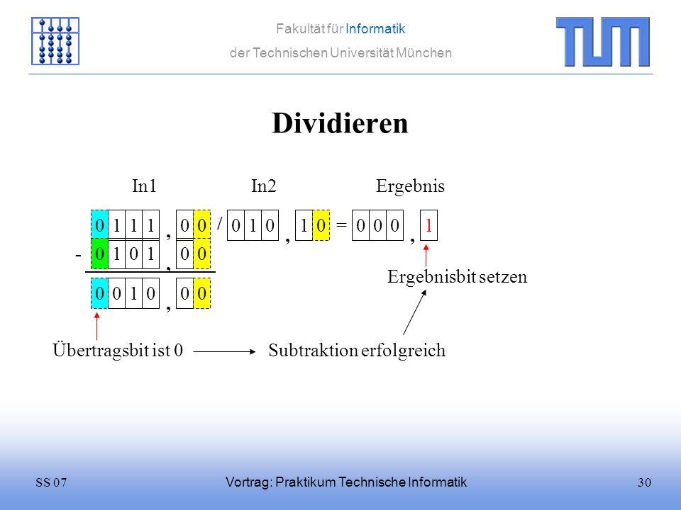 Dividieren In1 In2 Ergebnis 1 1 1 / 1 1 = 1 , , , - 1 1 ,