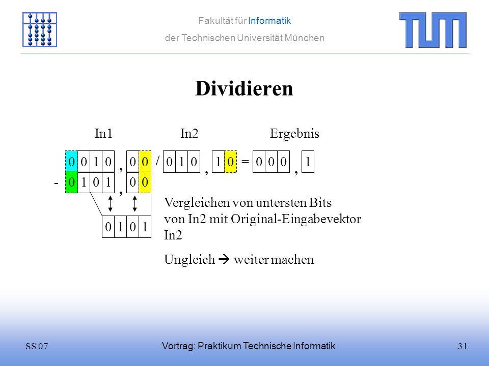 Dividieren In1 In2 Ergebnis 1 / 1 1 = 1 , , , - 1 1 ,