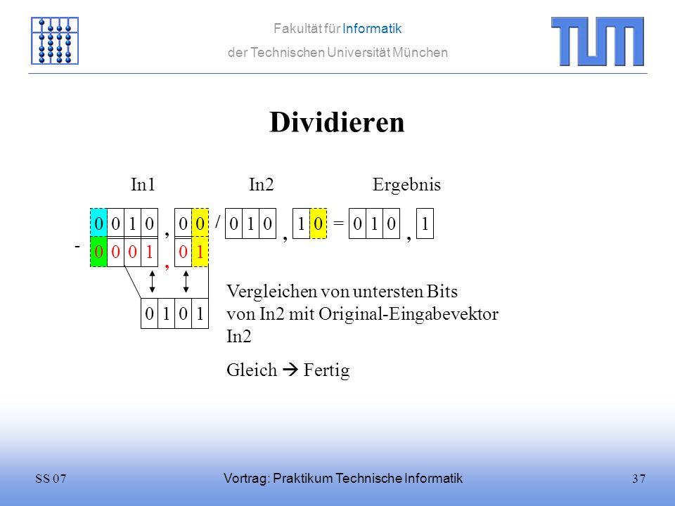 Dividieren In1 In2 Ergebnis 1 / 1 1 = 1 1 , , , 1 1 ,