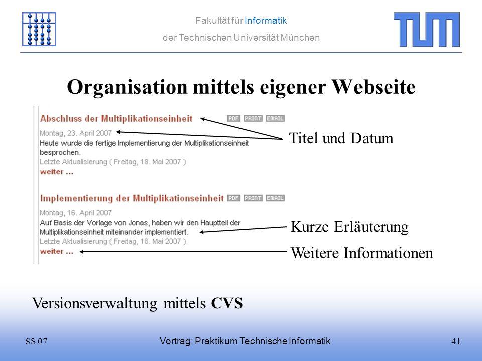 Organisation mittels eigener Webseite