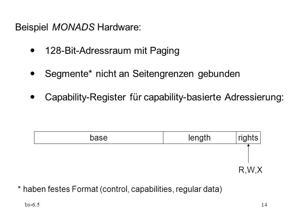 Beispiel MONADS Hardware:  128-Bit-Adressraum mit Paging