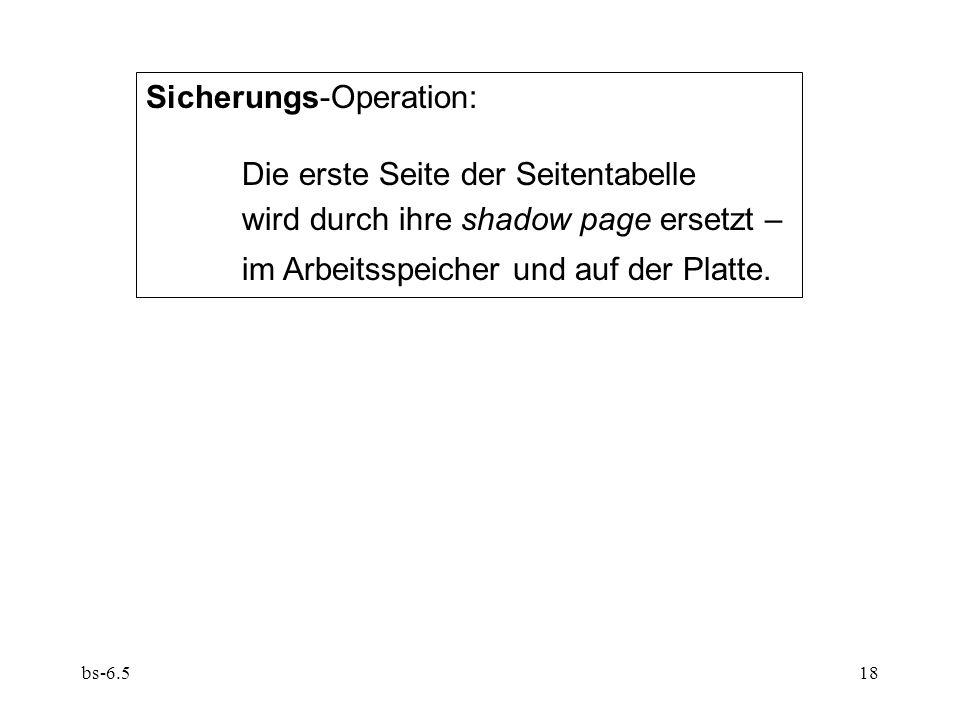Sicherungs-Operation: Die erste Seite der Seitentabelle