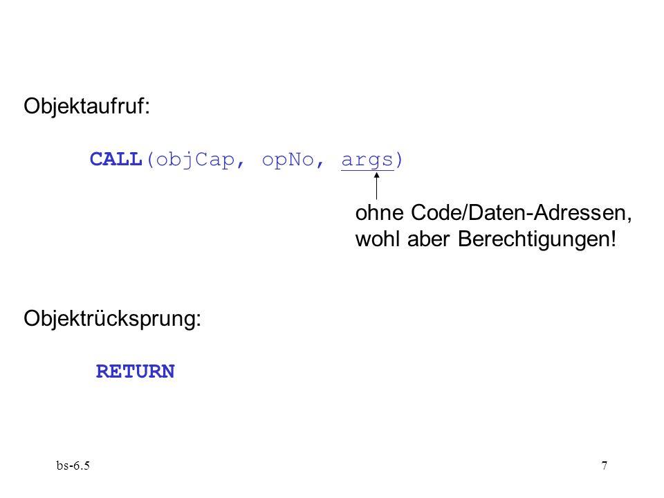 CALL(objCap, opNo, args) ohne Code/Daten-Adressen,