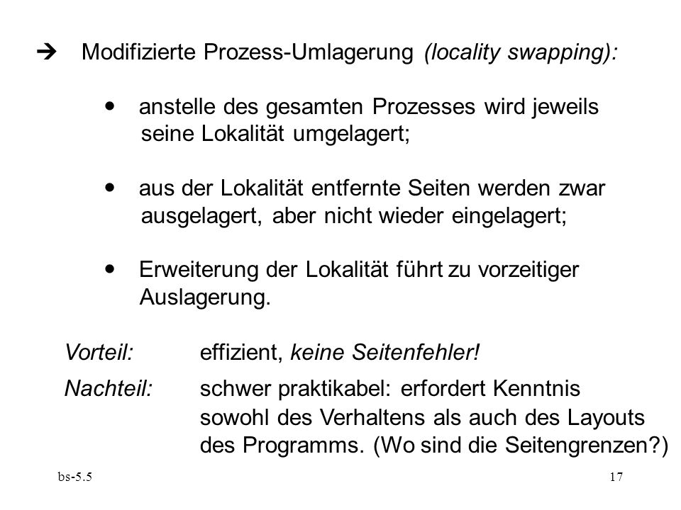  Modifizierte Prozess-Umlagerung (locality swapping):